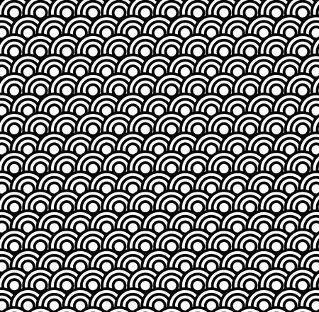 psychedelic background: Retro black and white seamless circle pattern background Illustration