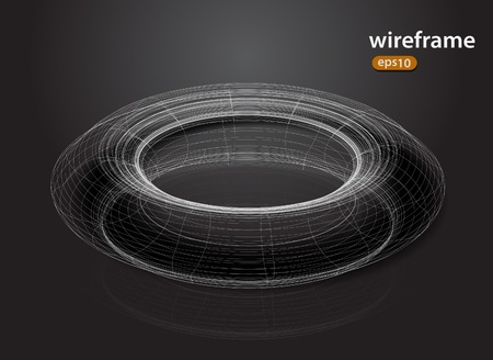 abstract futuristic 3d wire frame design element Vector
