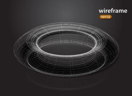beignet: abstrait fil futuriste 3d conception du ch�ssis �l�ment Illustration