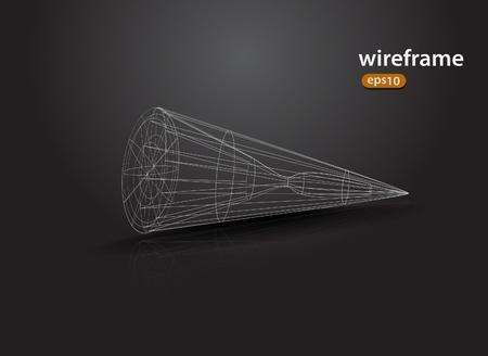 abstract futuristic 3d wireframe design element Vector