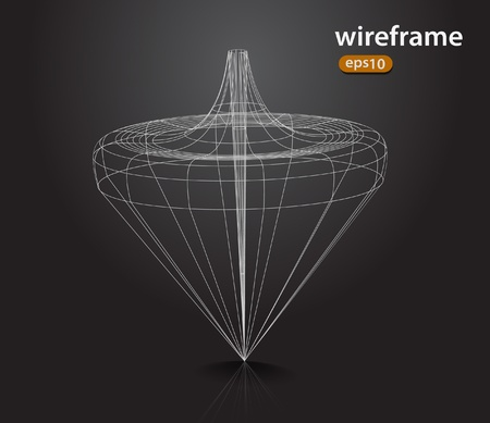 abstract futuristic 3d wire frame design element Stock Vector - 11193880