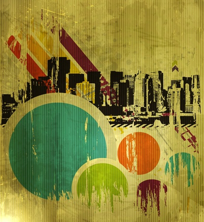 metropolis: Abstract urban city on a texture background, vector illustration