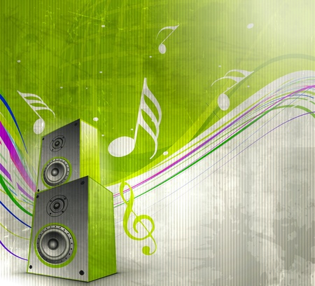 music box: Music notes with music box for design element, vector illustration