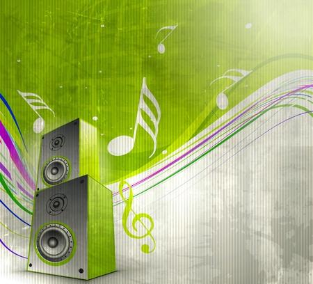 speaker box: Notas de la m�sica con caja de m�sica para el elemento de dise�o, ilustraci�n vectorial