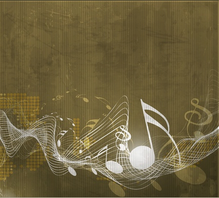 Music notes with music wave element for design use, Vector