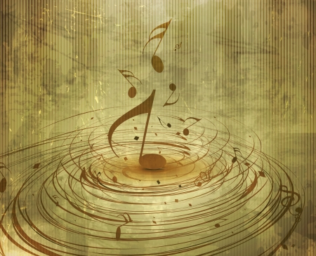 music poster: abstract texture background with music notes for design use. Illustration
