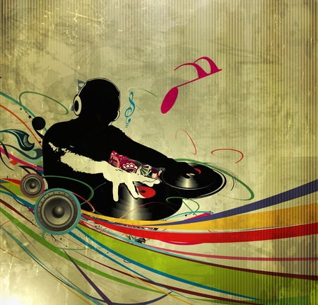 turntable: Abstract vector illustration of an dj man playing tunes with texture  background.