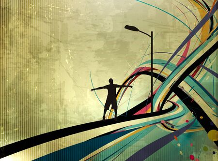 weekend activities: vector illustration of success man standing with raised arms abstract background