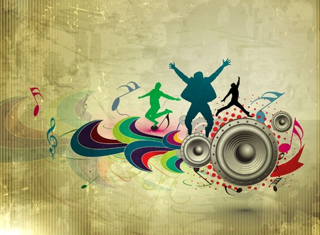 happy people jumping: abstract grunge music party poster design on texture background