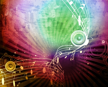 musical event: abstract musical notes -grunge vector illustration  Illustration