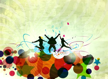 silhouette of friends jumping in abstract texture background. Vector