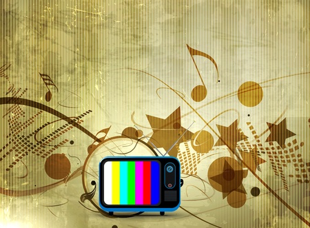 conservatory: Abstract musical tv background with music note.