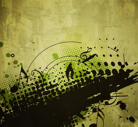 eroded: abstract floral & grunge design, vector background