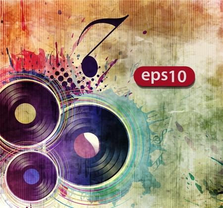 scheibe: Vinyl-Schallplatte auf buntem Hintergrund, Vektor-Illustration.