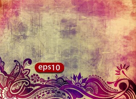 Vector illustration of grunge floral background.