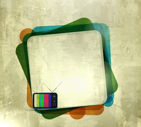 affichage publicitaire: Vector illustration de fond texhure grunge avec la banni�re tv