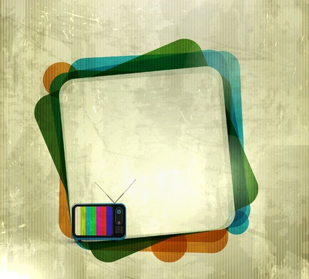 retro tv: vector illustration of grunge texhure background with tv banner Illustration