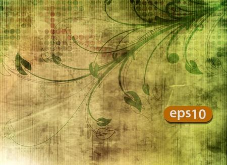 vector illustration of floral grunge background pattern Stock Vector - 11219013
