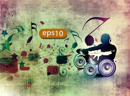 speaker system: vector illustration of a music dj playing music design.