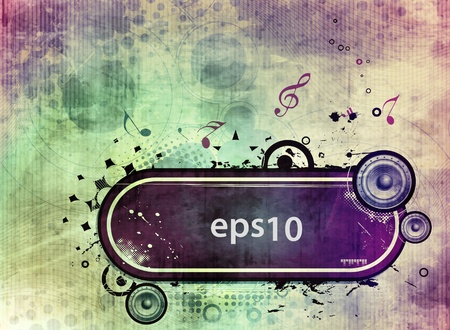 vector musical theme illustration with grunge banner design, Vector