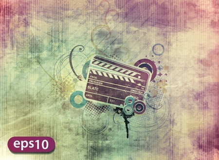 film editing: Vector grunge modern colored clapper board with white board.  Illustration