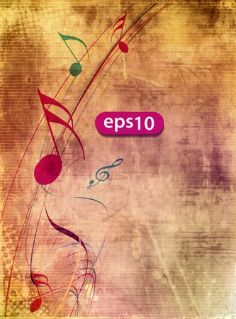 in tune: Music notes with music wave element for design use,