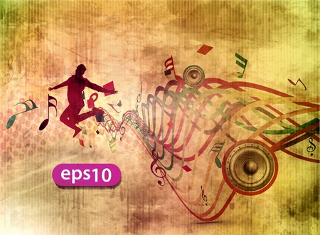 silhouette of a young happy man jumping in music background.