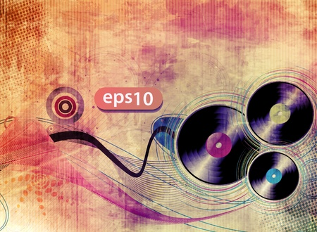 vinyl record on colorful texhure background, vector illustration.  Vector