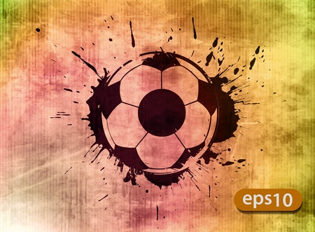 Football banner with the grunge balls background  Vector