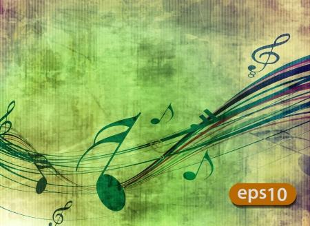 abstracte muziek neemt nota ontwerp voor muziekplezier achtergrond gebruiken. Vector Illustratie