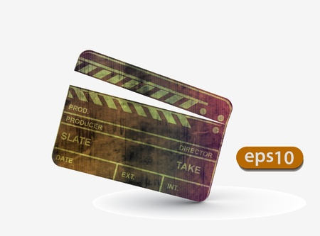 film slate: Vector grunge modern colored clapper board with white board.