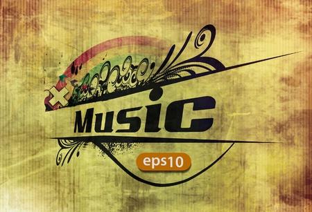 old sheet music: vector grunge musical floral banner background