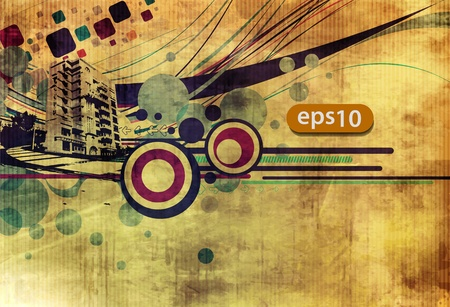 banner backgrounds: Abstract urban city on a texture background, vector illustration