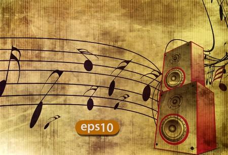 Notas de la música con caja de música para el elemento de diseño, ilustración vectorial