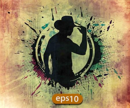 bandidas: grunge silueta de un vaquero fresco, ilustraci�n vectorial