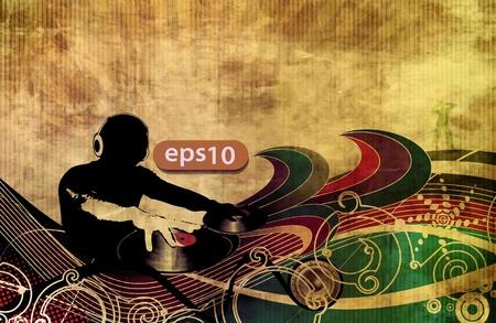 disk jockey: tropicale festa musica di sottofondo dj con disegno turbinio floreale. Vettoriali