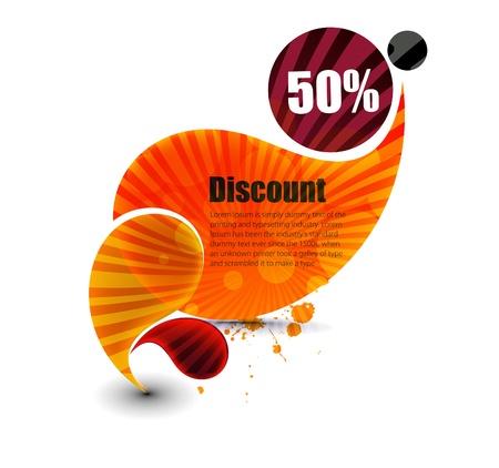discount banner: Vector discount banner, transparent shadow easy replace background.