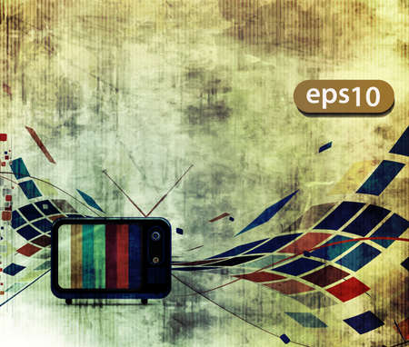old tv: abstract grunge texture with  mosaic design, advertisement poster