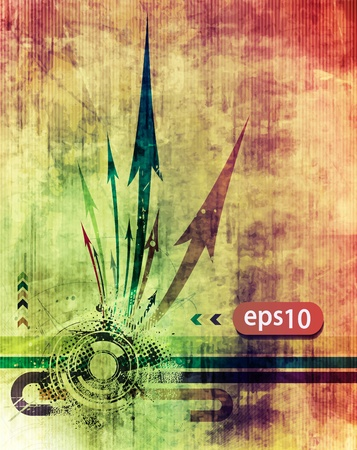 Abstract grunge arrow wave with grunge texture background. Vector