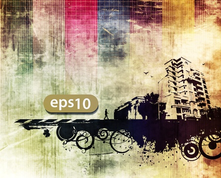 vector city scape, stedelijke scène met grunge achtergrond Vector Illustratie