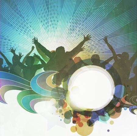dance floor: vector blur design with silhouette of dancing people on party banner background.