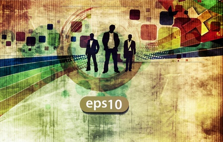 abstract silhouettes of a business people with grunge background Stock Vector - 11219165