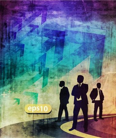 crisis economica: vector de la silueta de un hombre de negocios de decidir el camino correcto, Vectores