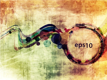 lower: Abstract circle wave banner with multi-colored grunge background design,  Illustration