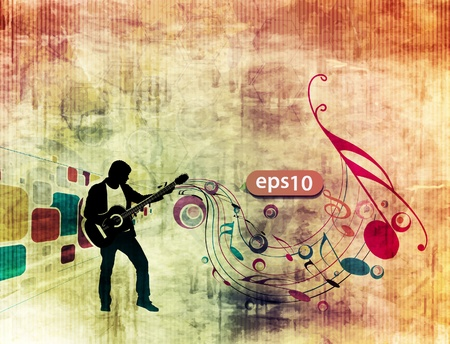 man playing guitar in grunge texture background. Vector