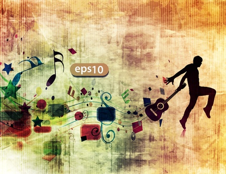 silhouette of passionate guitarist danceing in the grunge design poster.