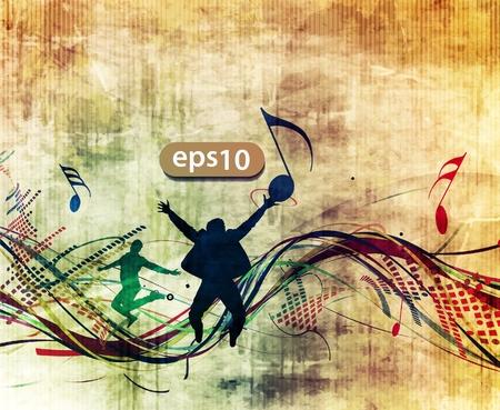 Jeunes et ajustement sautant de joie avec le thème de note de musique.