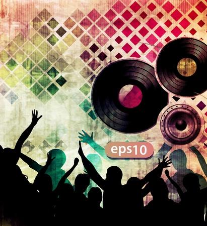 night bar: Vector partido poster j�venes bailando.