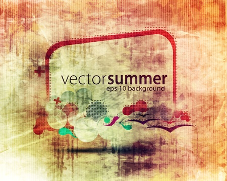 colorful cloud composition with grunge splats and banner for your text. Vector