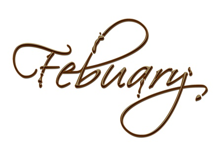 february calendar: Month of the year chocolate text made of chocolate vector design element.